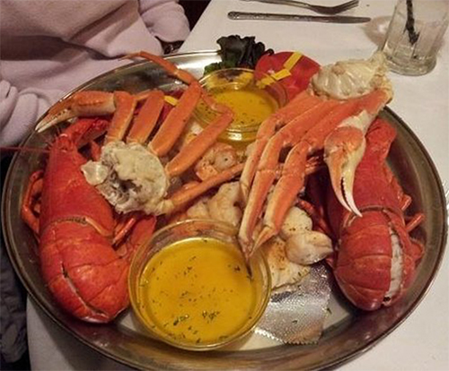 Seafood dinner for two